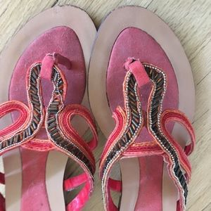 Red Thong Sandals with beaded trim Size 7